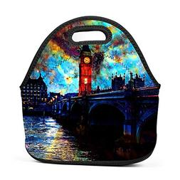 Qeksow Handbags Tote with Zipper Night Big Ben Creative Prin