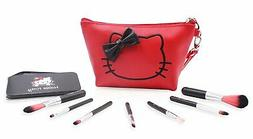Finex Hello Kitty Red PU Leather Cosmetic Bag with 7 Makeup