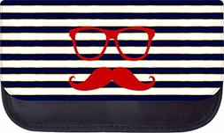 Hipster Elements Glasses and Mustache on Gilded Navy Stripes