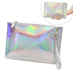 Fashion Women's Holographic Leather Clutch Bag Purse Simple