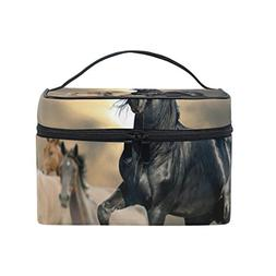 ALIREA Horses Animated Cosmetic Bag Travel Makeup Train Case