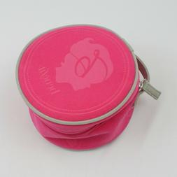 Benefit Hot Pink Round Makeup Cosmetic Bag Zippered Pouch