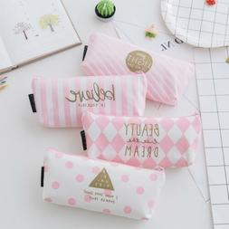 HOT US Pen Pencil Case Makeup Bag Canvas Zipper Students Sta