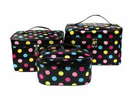 hoyofo 3pcs makeup bags for women polka