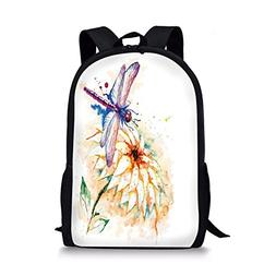 iPrint School Bags Dragonfly,Watercolor Stylized Lily Flower