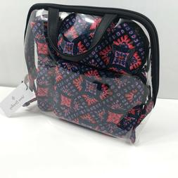 Vera Bradley Iconic 4 Piece Cosmetic Set Make Up Bag In Mosa