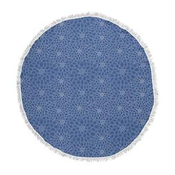 KESS InHouse Julia Grifol White Flowers Navy Blue Round Beac