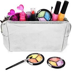 Kids Makeup Set Girls Glitter Cosmetics Bag Real Washable To