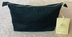 KINzzzA Linen Handmade Black Cosmetic Makeup Bag Pouch Acces