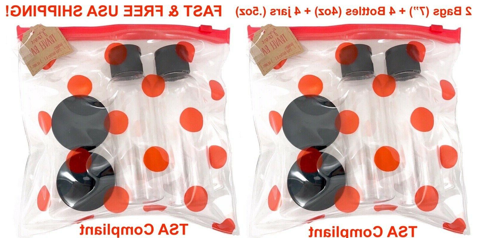 2 Clear Makeup Bags Travel Empty Refillable Bottles Containe