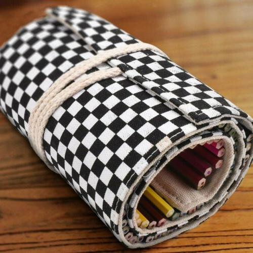 72 Holes Bag Wrap Pen Holder Cosmetics Brushes Pouch
