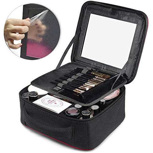 TOPSEFU Make up Bag Mirror and area, Makeup Cosmetic makeup Case with Adjustable Dividers for Accessories