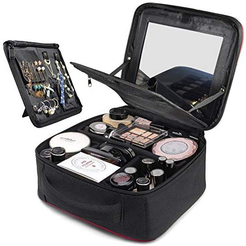 TOPSEFU Make Mirror Makeup Case Cosmetic Case makeup Case with Adjustable for Makeup Brushes Accessories