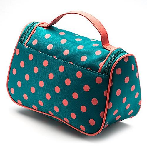 Toiletry Bag Polka Dots Travel Bag Girls Organizer with Double