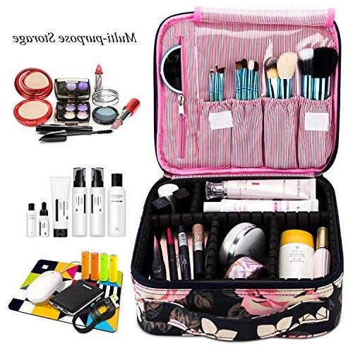 Makeup Bag Cosmetic Bag for Cute Makeup Professional Organizer Adjustable for Cosmetics Make Tools Toiletry Jewelry,Dark Peony
