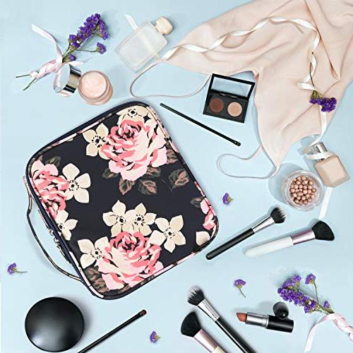 Makeup Travel Cosmetic Cute Makeup Case Organizer with Adjustable for Cosmetics Tools Blue Peony