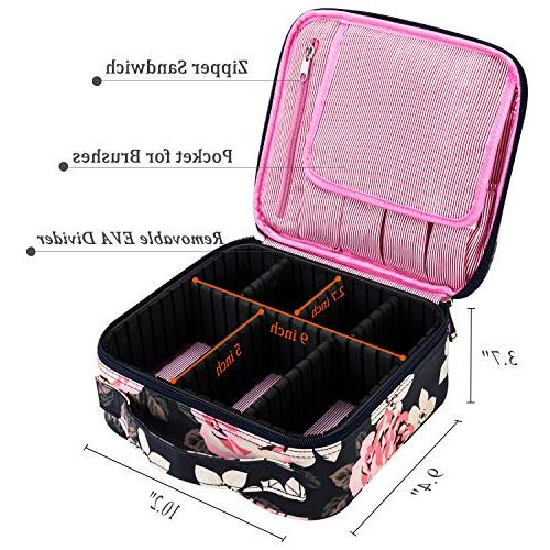 Makeup Bag for Women Cute Makeup Case Professional Cosmetic Case Organizer for Cosmetics Tools Toiletry Jewelry,Dark Peony