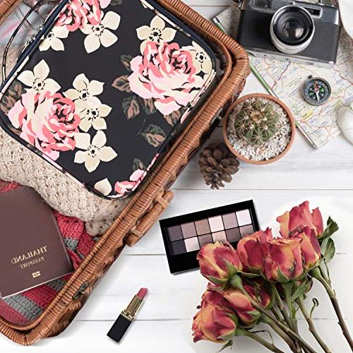 Makeup Cute Makeup Case Large Professional Cosmetic Train Organizer with Adjustable for Cosmetics Tools Peony