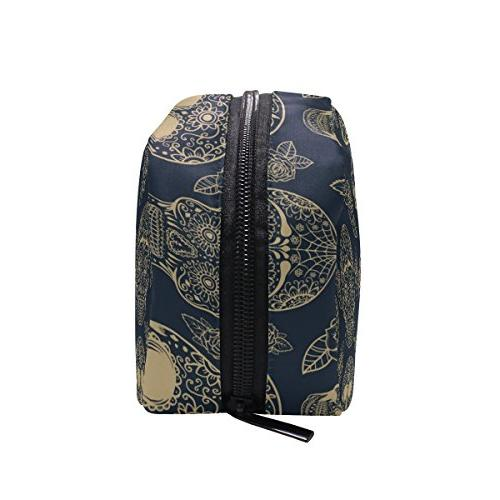 ALAZA Cosmetic Bag Toiletry Handy Large Pouch Zipper Isolated Makeup
