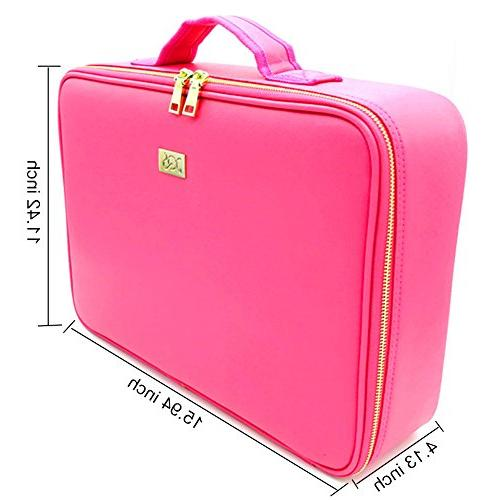 ROWNYEON PU Makeup Makeup Bag Portable Bag Train Case Girl