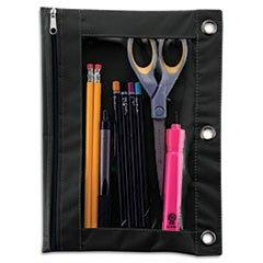 ** Binder Pencil Pouch, 10 x 7 3/8, Black/Clear
