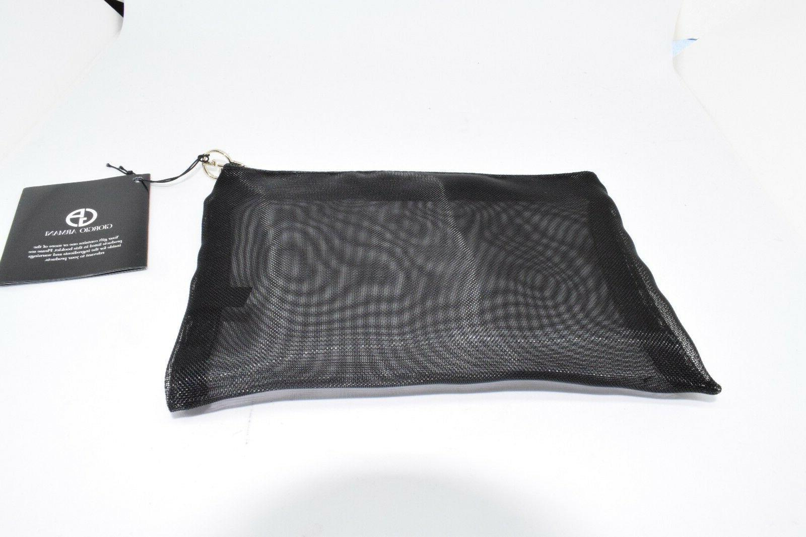 black mesh cosmetic makeup clutch bag nwt