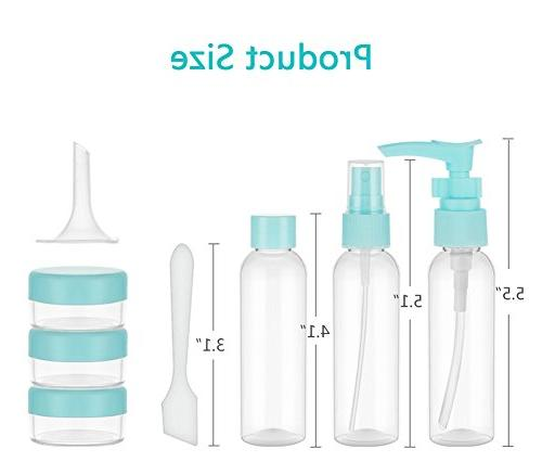 HaloVa Travel Airline Refillable Empty Pump Bottle, Clear Containers, Set of 8,