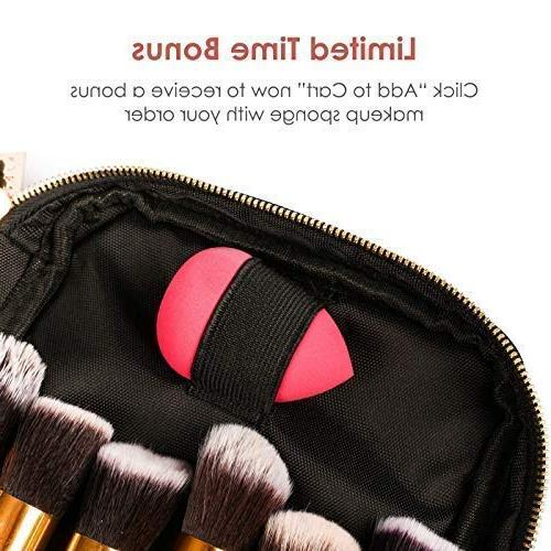 habe Brush Travel Case – Makeup Brush Organizer Bag – BONUS Up – Long AND Thick Women – Free