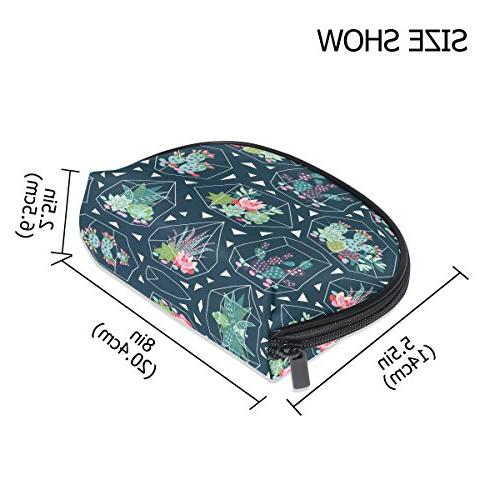 ALAZA Succulent Moon Cosmetic Toiletry Bag Purse for Women
