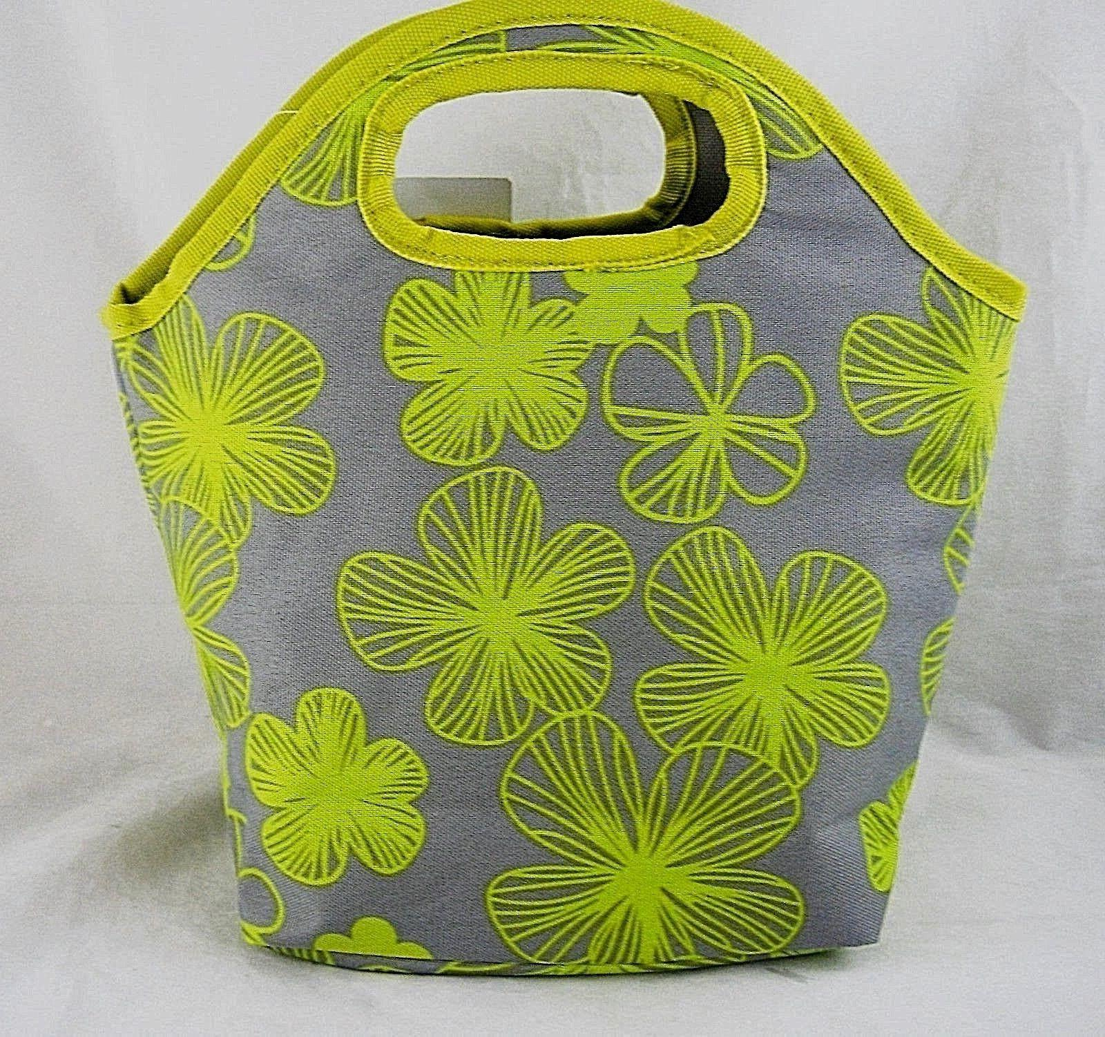 chartreuse flowers zippered insulated lunch tote cosmetic