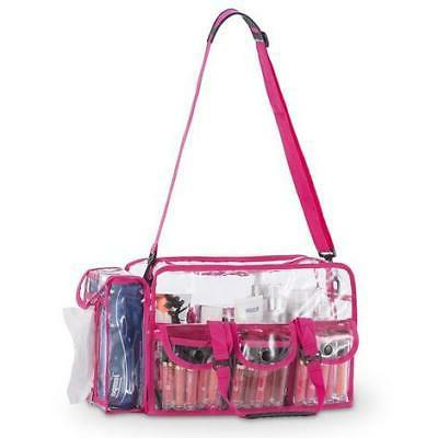 Clear PVC Cosmetic Bag with External Pockets Shoulder Strap