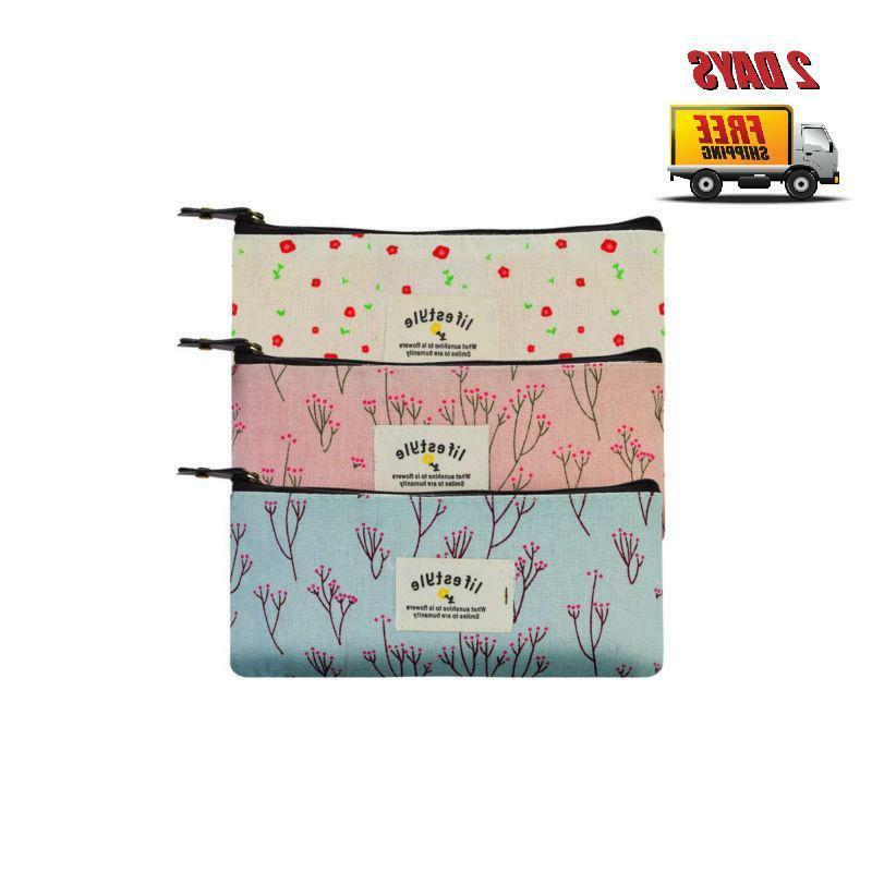 countryside flower floral pencil pen case cosmetic