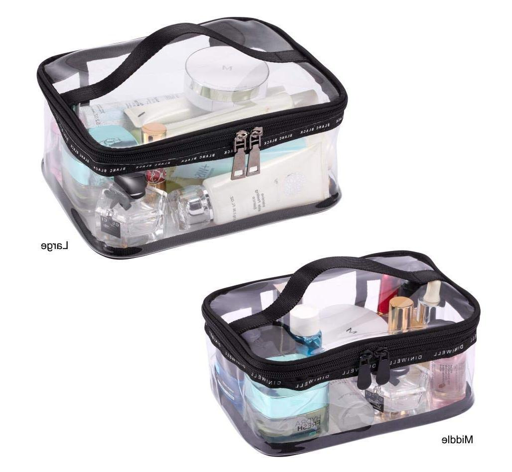Black + <font><b>Cosmetic</b></font> <font><b>Bag</b></font> <font><b>Case</b></font> Organizer Handle