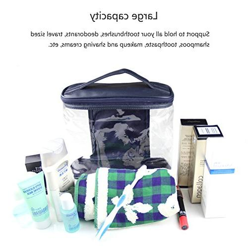 HaloVa Clear Travel Sundry Toiletries Organizer Top Handle for Men and Blue