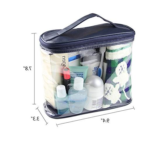 HaloVa Transparent Clear Sundry Toiletries Organizer with Top for and Women, Dark Blue