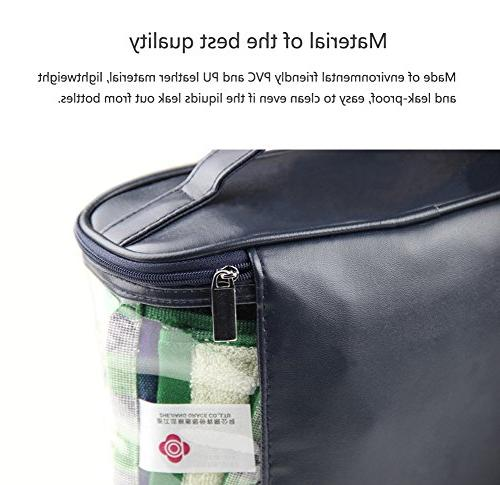 HaloVa Transparent Toiletry Clear Travel Sundry Cosmetics and Toiletries Organizer Bag with Top and Women,