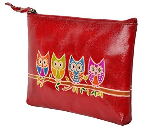 SAAGA Hand Painted Leather Makeup Pouch Bag Makeup Toiletry with Motifs/Handmade :