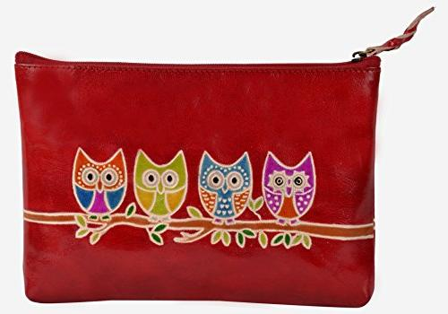 hand painted leather pouch cosmetics