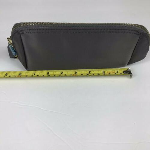 CHICECO Clutch Makeup Bag Gray Nylon Shell New