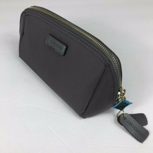 CHICECO Pouch Clutch Makeup Bag Dark Gray Nylon New