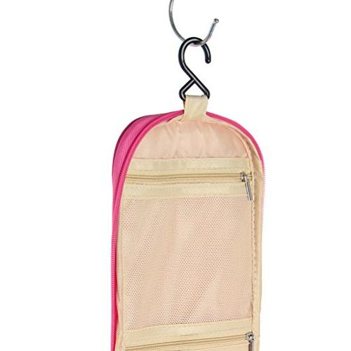Travel Hanging Toiletry Flat Bottom Large Storage Sturdy Men and Red