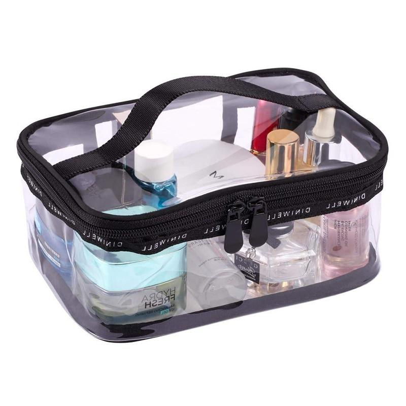 Black + transparent <font><b>Cosmetic</b></font> <font><b>Case</b></font> with Top Handle