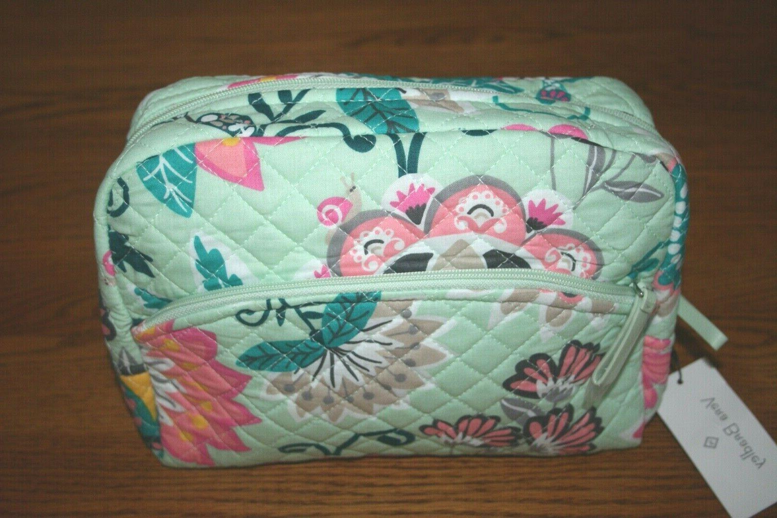 iconic large cosmetic bag mint flowers case
