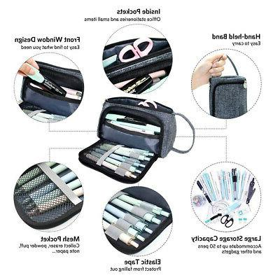 Large Pencil Case Box Cosmetic Pouch Brush Holder Makeup Bag