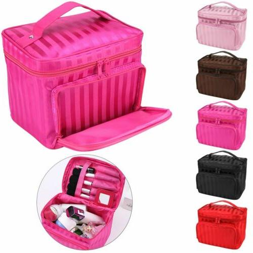 large multiplepockets cosmetic case makeup bag storage