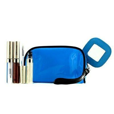 lip gloss set with blue cosmetic bag
