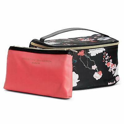 Adrienne Makeup Set: Nylon Carry On Toiletry Cosmetic Train Case