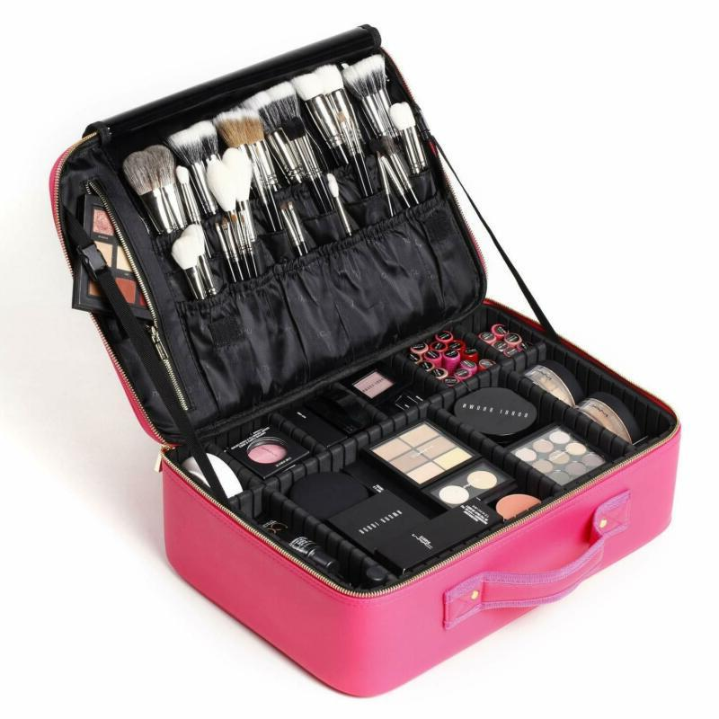 makeup train case travel cosmetic case professional
