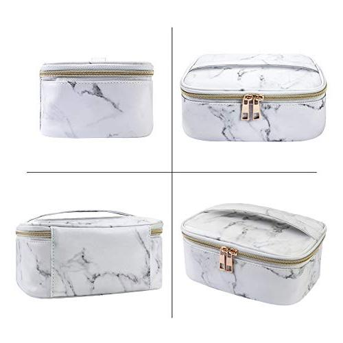 MAGEFY Marble Makeup Portable Travel Cosmetic Organizer Gold Bag for Woman