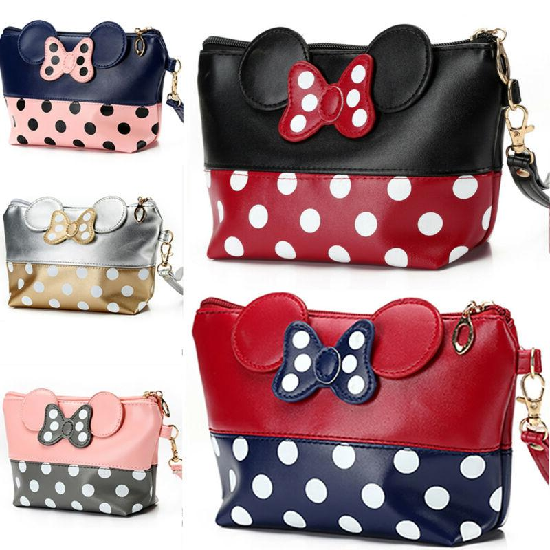 Women Minnie Mouse Travel Cosmetic Makeup Toiletry Bag PU Le